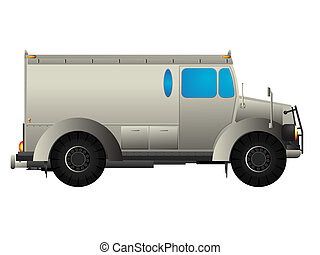 Armored money transport car over white