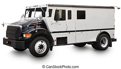 Armored Car - Armored truck vehicle isolated on a white ...
