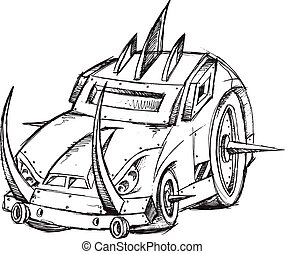 Armored Car Vehicle Sketch Vector
