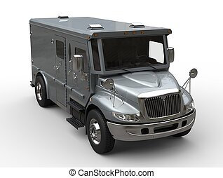 Armored cash transport car - blue silver - front top down...