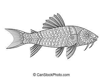 Armored catfish - Zendoodle stylized armored catfish for...