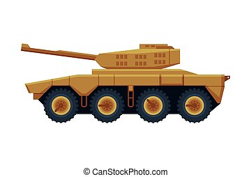 Armored Infantry Vehicle, Heavy Special Machinery Flat Vector Illustration Isolated in White Background.