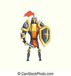 Armored knight warrior character vector Illustration on a white background