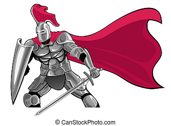 knight - armored knight with sword and shield