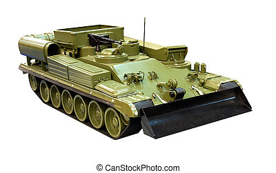 Armored military bulldozer - Miniature model of armored...