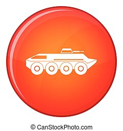 Armored personnel carrier icon, flat style