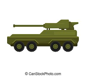 Armored personnel carrier with a gun. Vector illustration on a white background.