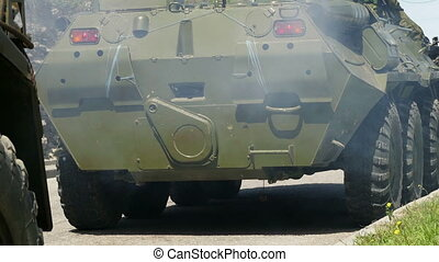 Armored personnel carriers moving. - Russian Armored...