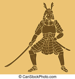 Armored Samurai - A samurai in carved style illustration