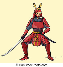 Armored Samurai - Illustration of an armored samurai