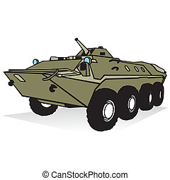 Armored troop-carrier - Armored personnel carrier isolated...