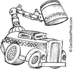 Armored Truck Vector Sketch Illustration Art