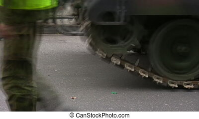 Armored vehicle moving - Closeup of moving continuous tracks...