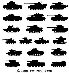 Armored vehicles - The contours of the old tanks. ...