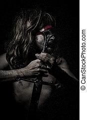 armor.savage, strijder, met, ijzer, zwaard