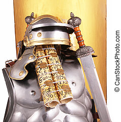 "armour - A golden sign ""scutum"" with swords, a helmet and a..."