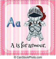 Armour - Flashcard letter A is for armour