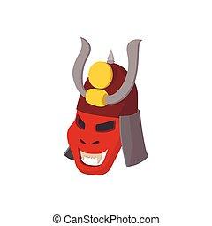 Armour mask icon, cartoon style