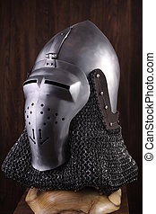 Armour of the medieval knight. Metal protection of the soldier