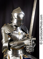Armour of the medieval knight. Metal protection of the ...