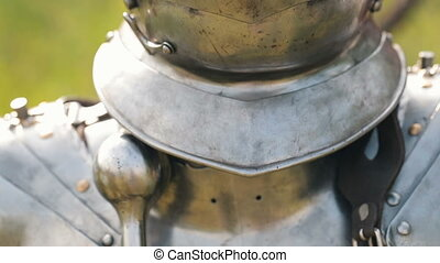 Armour of the medieval knight. Metal protection of the...