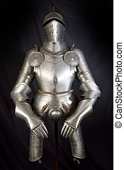 Armour of the medieval knight. Metal protection of the soldier against the weapon of the opponent
