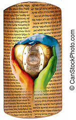 """armour - Three colored hands on a golden sign """"scutum"""" with..."""
