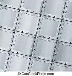 armoured, металл, задний план, with, rivets