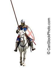 armoured, cavaleiro, branco, warhorse