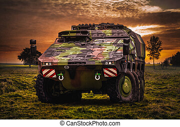 Armoured fighting vehicle in a beautiful landscape