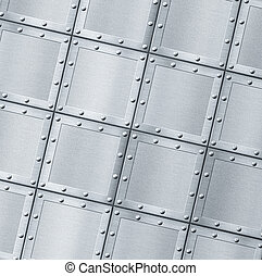 armoured metal background with rivets