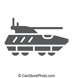 Armoured personnel carrier glyph icon, army and military, tank sign, vector graphics, a solid pattern on a white background.
