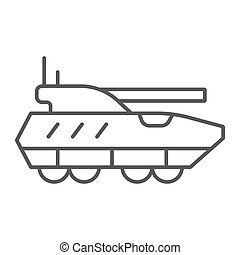 Armoured personnel carrier thin line icon, army and military, tank sign, vector graphics, a linear pattern on a white background.