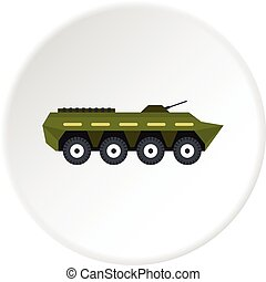Armoured troop carrier icon circle