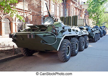 Armoured troop-carrier wheeled