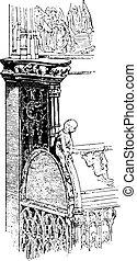 Armrest, vintage engraving. - Armrest, vintage engraved...