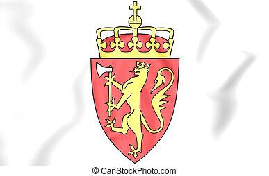 arms., コート, ノルウェー, illustration., 3d
