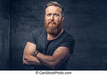 arms., barbu, mâle, traversé