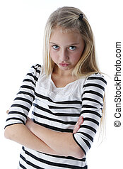 Arms Crossed - Young blonder girl, with her arms crossed ,...