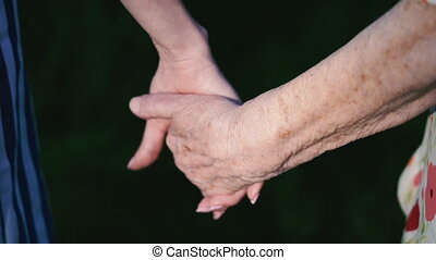 Arms. Grandmother's old hands take up young female hands
