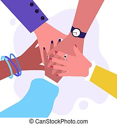 Arms of multiethnic women making unity, togetherness and ...