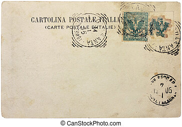 """ITALY - CIRCA 1905: a stamp printed by ITALY shows eagle with the Arms of Savoy. Text in the image means: """"Italian Post Card"""", circa 1905."""