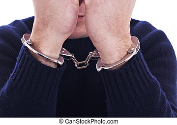 Arms on the face, with a handcuffs on the hands, isolated on...