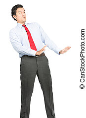 Arms Out Defesnive Posture Hispanic Businessman