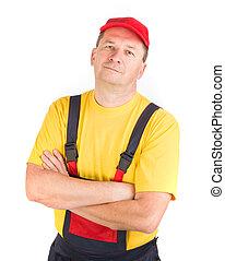 arms., ouvrier, chapeau, traversé