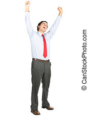 Arms Raised Celebrating Latino Office Worker Yell