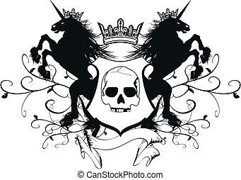 arms6, marynarka, heraldyczny, jednorożec