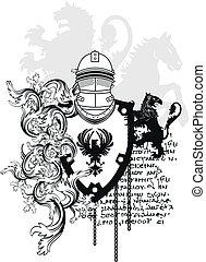 arms7, heraldiske, belægge, hjælm