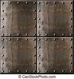 armure, métal, rouillé, fond, rivets