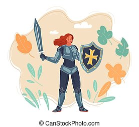 armure, portrait, vecteur, chevalier, femme, illustration
